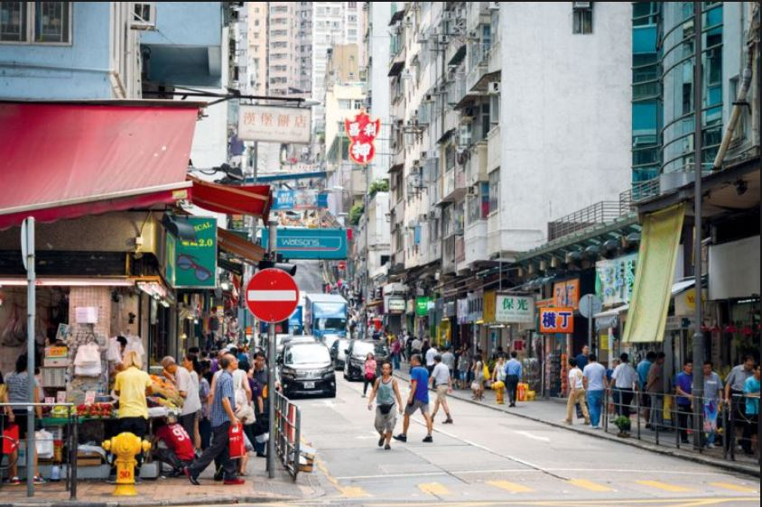 Busy Street in Sai Ying Poon at Queens Road East