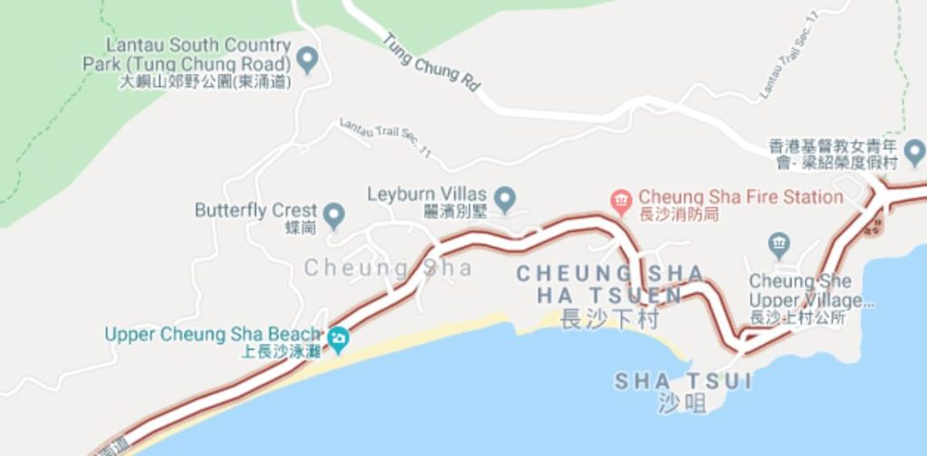 Map of South Lantau:  Photo: Courtesy Google